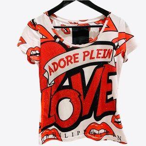 Philipp Plein Adore Love Lips Rhinestone Top Red S